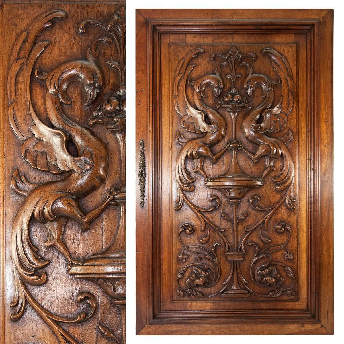 Antique french carved quot wood panel griffin gryphon