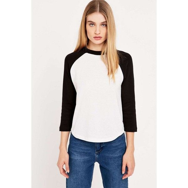 Cooperative Urban Outfitters Urban Outfitters '70s Baseball Tee ($29) ❤ liked on Polyvore featuring tops, t-shirts, 3/4 sleeve baseball tee, white cotton t shirts, urban outfitters t shirts, cotton t shirts and long sleeve crew neck tee