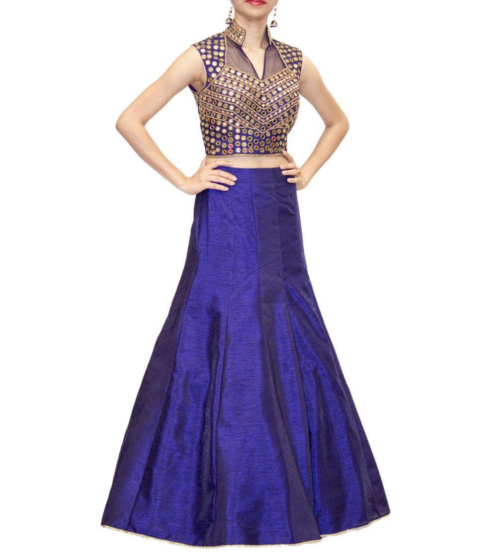 Navy Blue Raw Silk Lehenga Skirt With Mirror Work Crop Top From Regalia By Deepika At