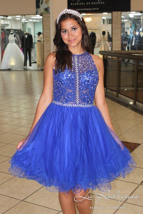 9e14519af Vestido de Debutante Curto 64 Azul Royal