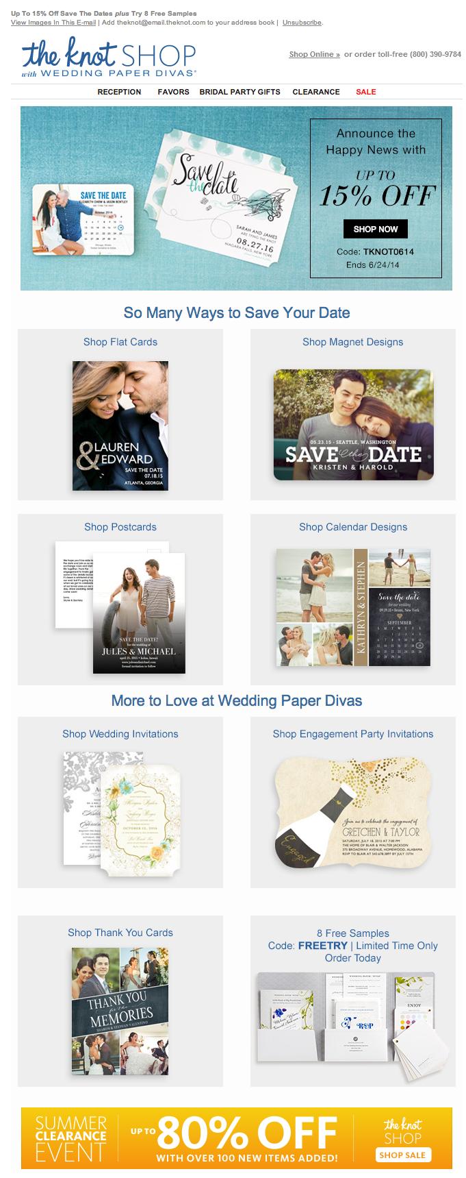The Knot Wedding registry email 2014 Wedding paper divas