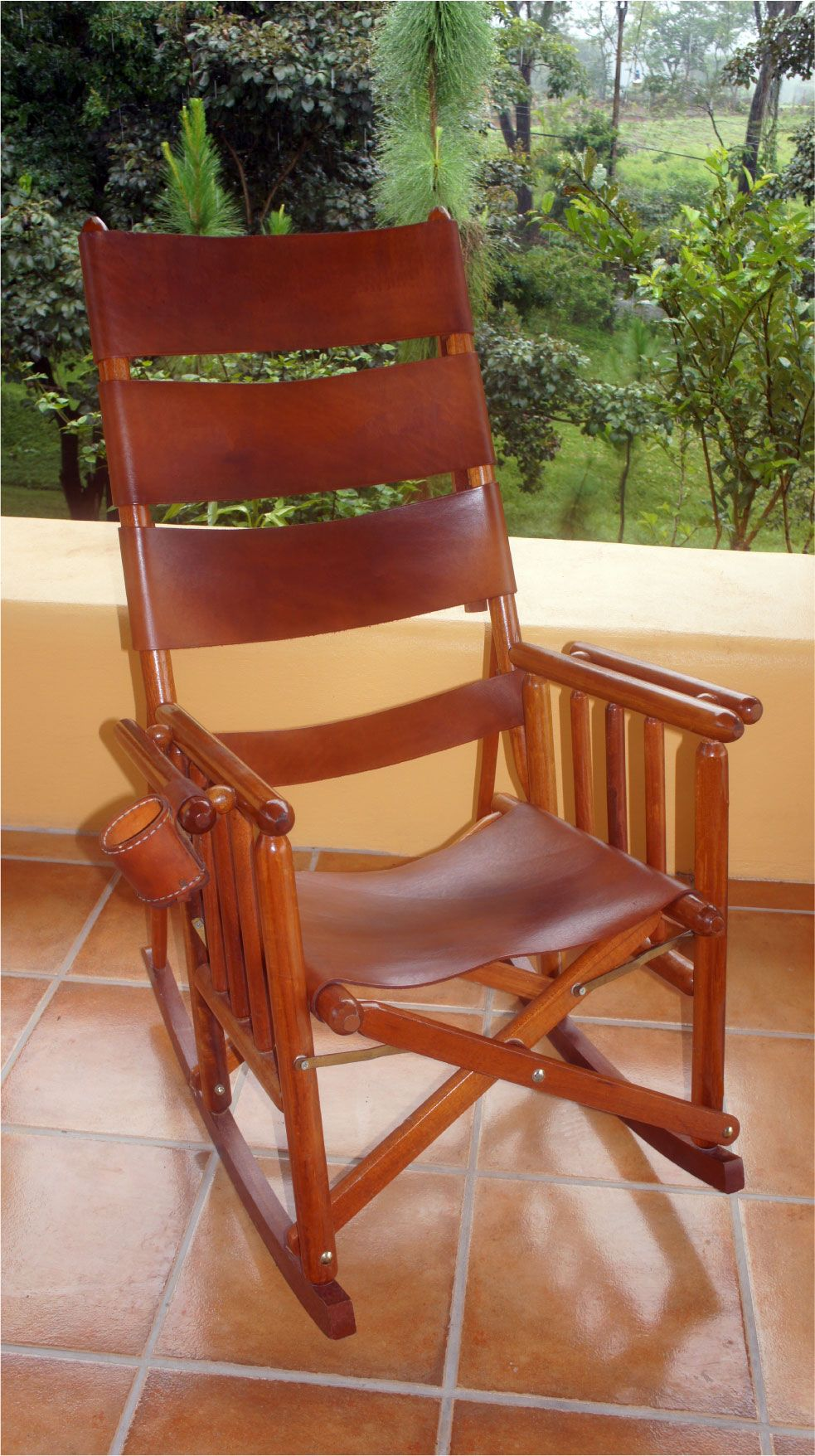 costa rica rocking chair - high back - natural leather - wonderful