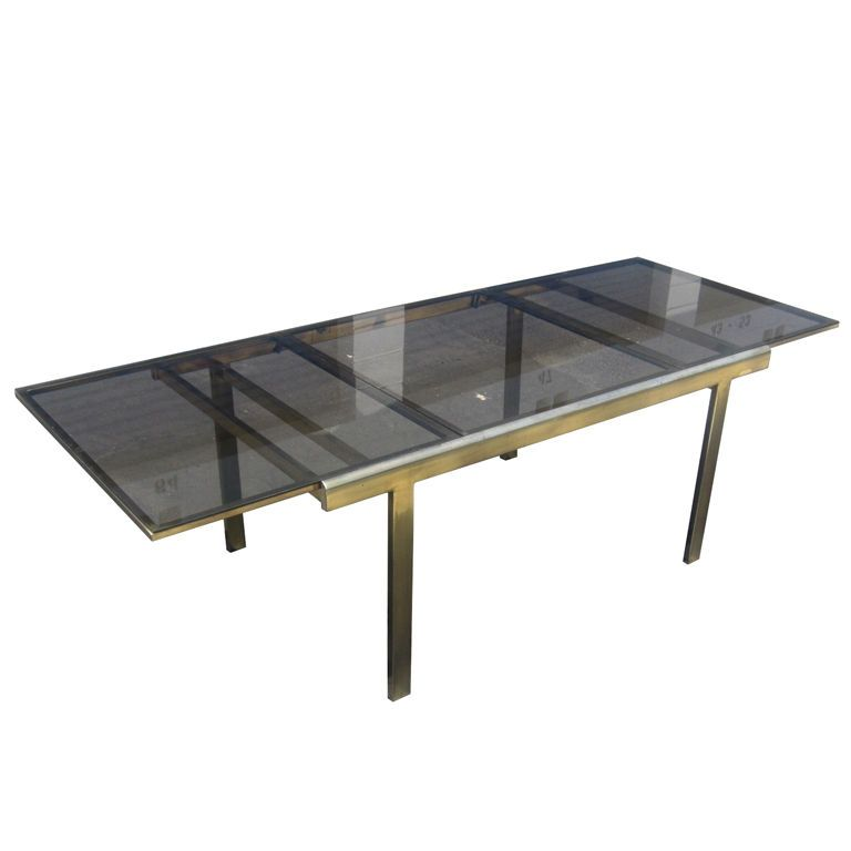 Attrayant Expandable Mastercraft Dining Table In Brass And Smoked Glass