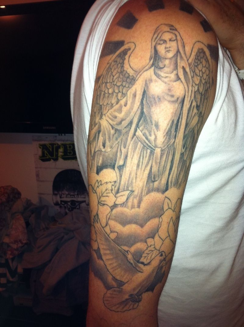 These half sleeve tattoo designs for men angel are styled