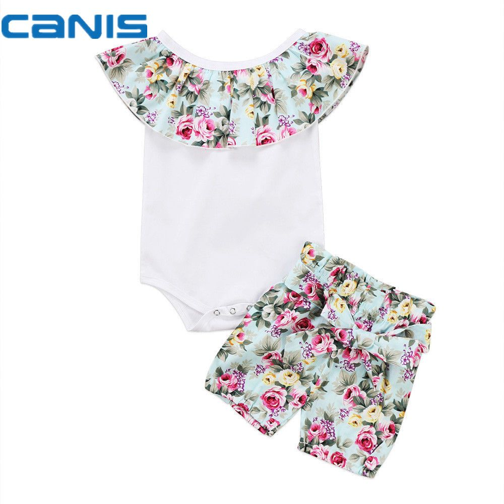 6cbd54275a3b Buy 2017 Brand New Casual Newborn Toddler Infant Baby Girl Cotton Romper Crop  Tops Shorts 2Pcs