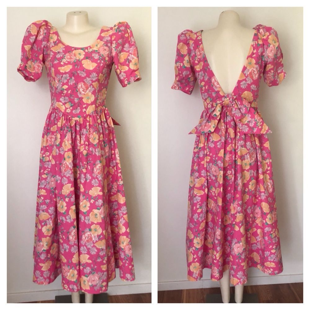 1980s Floral Print Laura Ashley Dress  80s Puff Sleeve Open Back Cotton Dress
