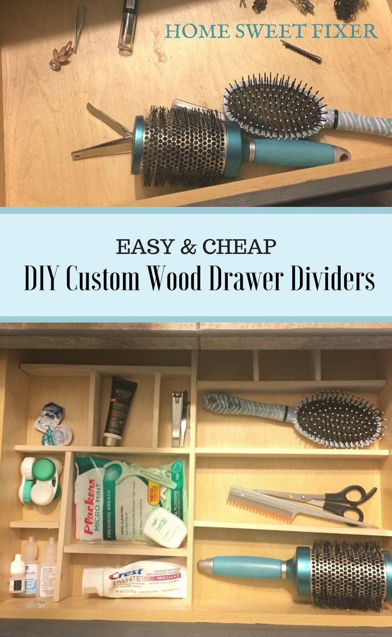 Easy & Cheap DIY Custom Wood Drawer Dividers | Cheap diy ...