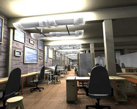 Ny loft style office space in old warehouse google for Commercial office space design ideas