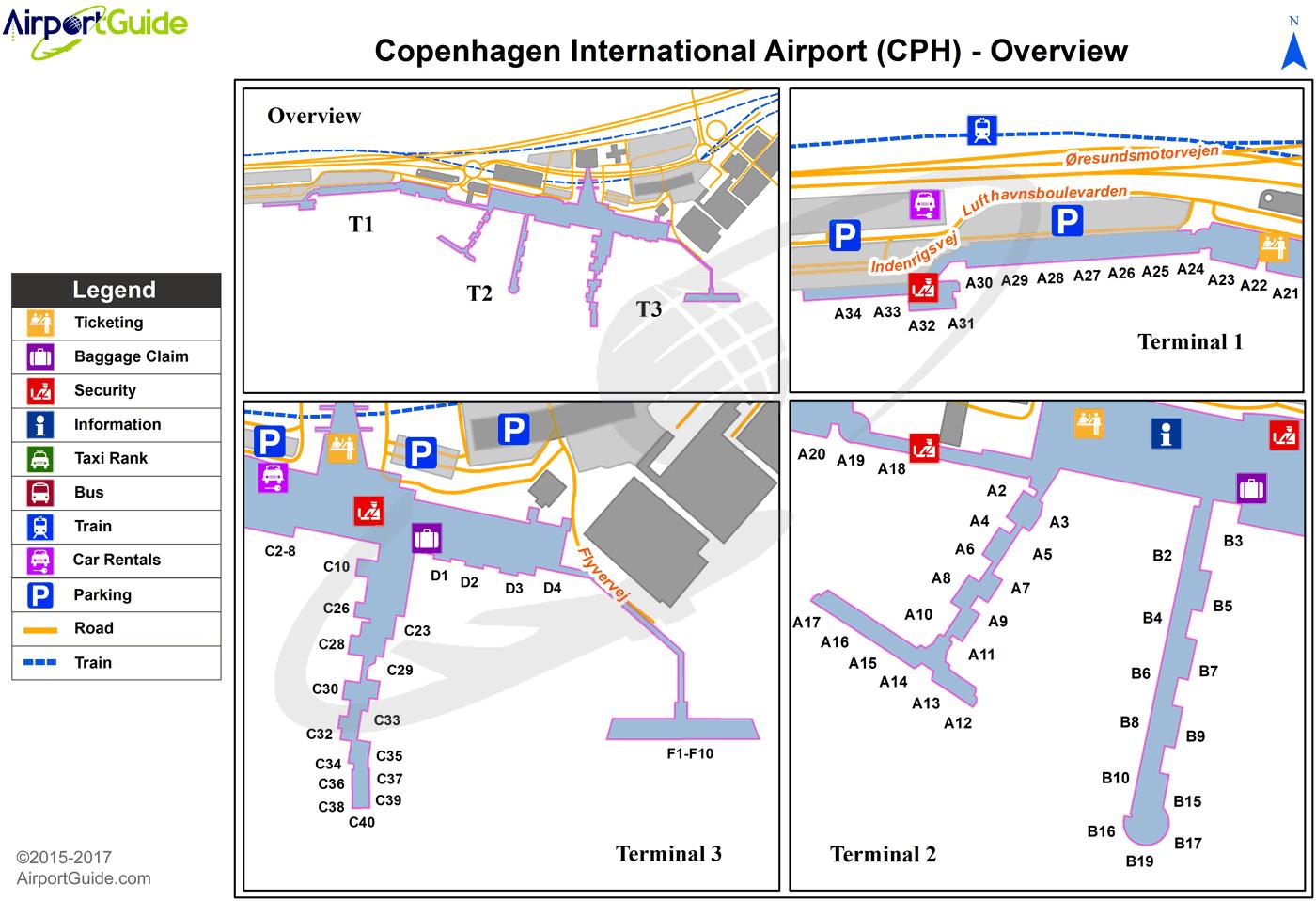 Copenhagen - Copenhagen Kastrup (CPH) Airport Terminal Map ...