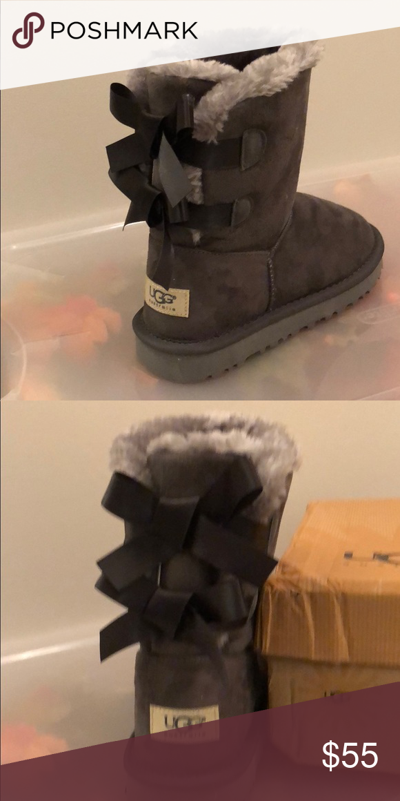 672a16c8856 Bailey Button Uggs grey bow detail on back Brand new Uggs! Never ...