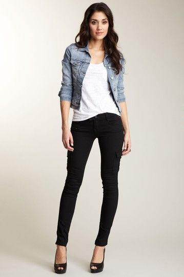 d1b5d58a877 Skinny black jeans and denim jacket. Probably would wear this outfit with  yellow leather ballet flats for a more casual look.