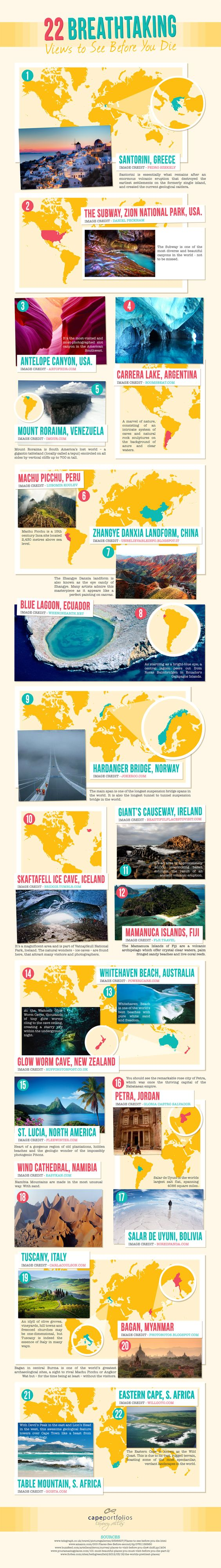 22 Breathtaking Views to See Before You Die #infographic #Travel #infografía