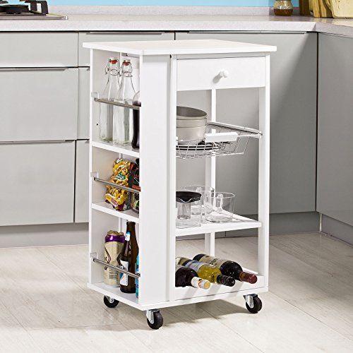 SoBuy® FKW12-W Desserte à roulettes, Meuble rangement, Kitchen Trolley Chariot de Cuisine en ...