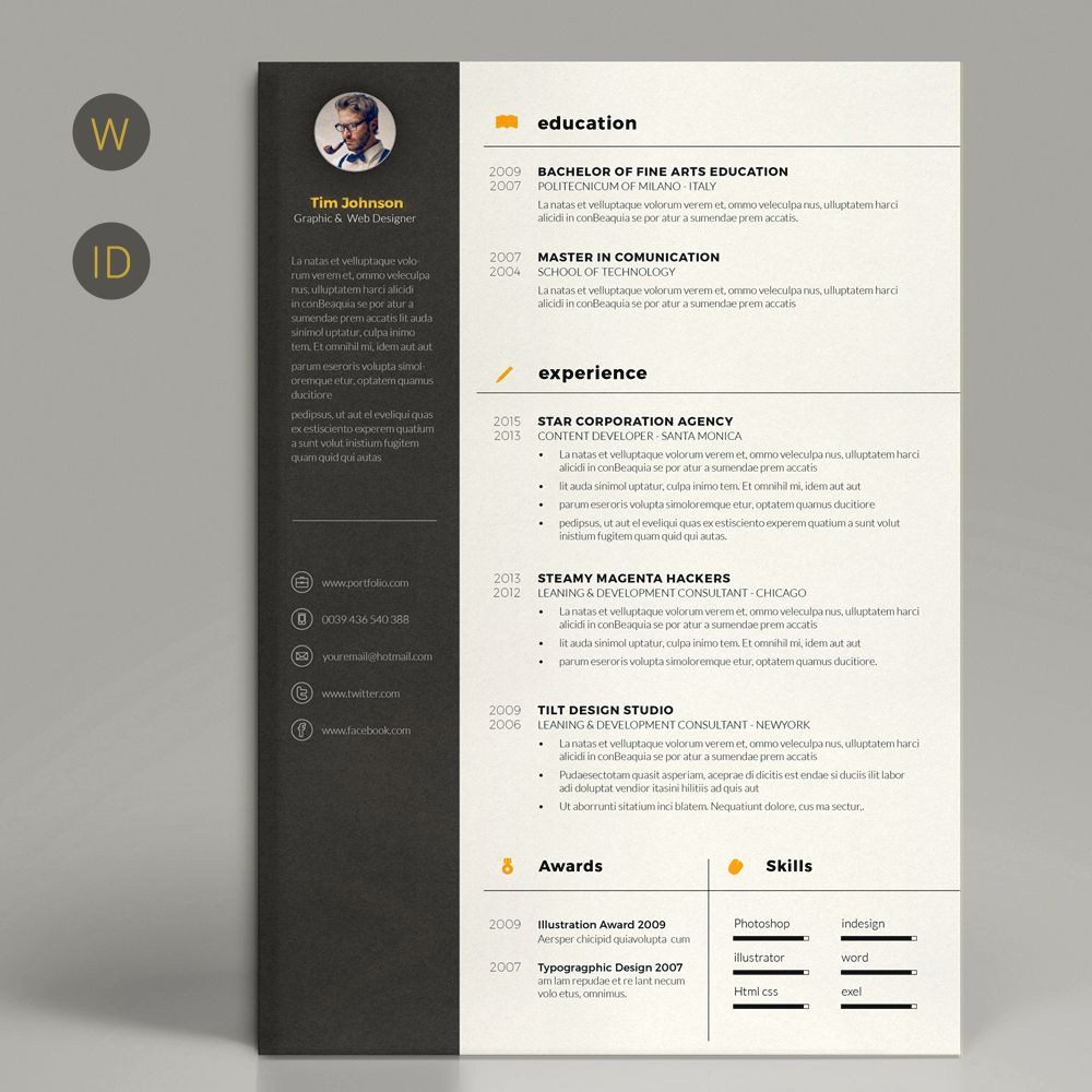 Minimal Resume by Estartshop on Creative Market | Pinterest