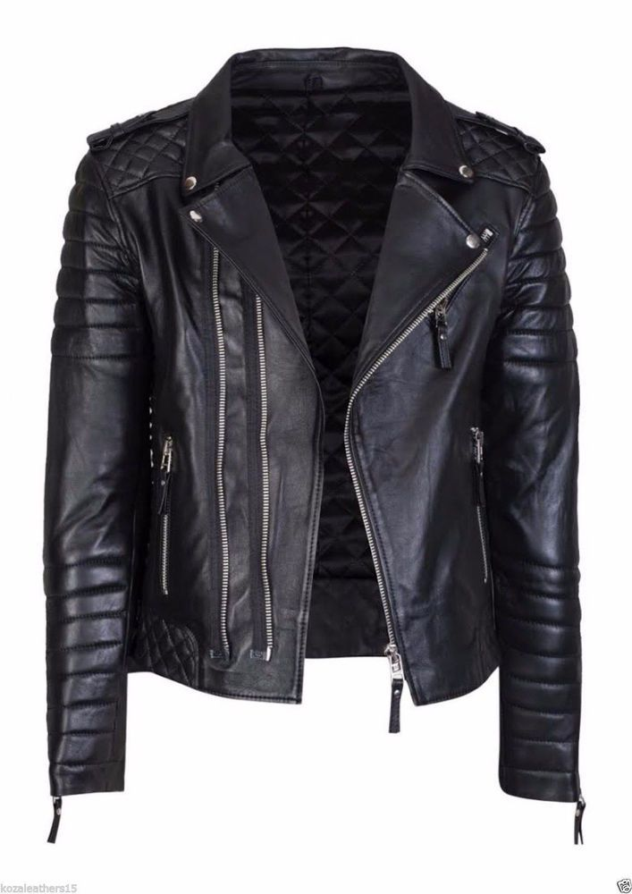 c2fd31b4fa60 New Men's Leather Motorcycle Quilted Jacket Real Lambskin Soft Leather MJ08  #WesternOutfit #Motorcycle