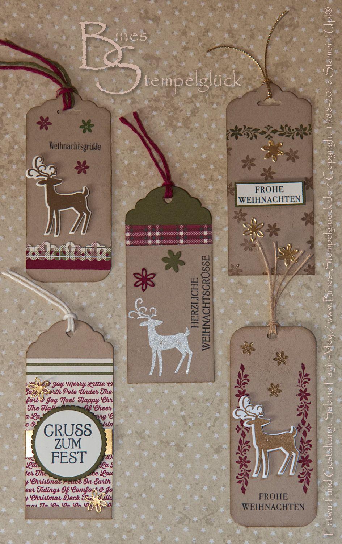 Weihnachtliche Geschenkanhänger - Für diese Anhänger habe ich das Produktpaket  Weihnachtshirsch verwendet sowie den Farbkarton in Savanne und das Designerpapier Hüttenromantik. Mit den Thinlits Weihnachtswild habe ich schon viel gearbeitet, weil ich sie so schön finde. Gestanzt wurden die Anhänger mit der Stanze Gewellter Anhänger und mit der Trio Stanze Dekorative Details. #stampshandmade