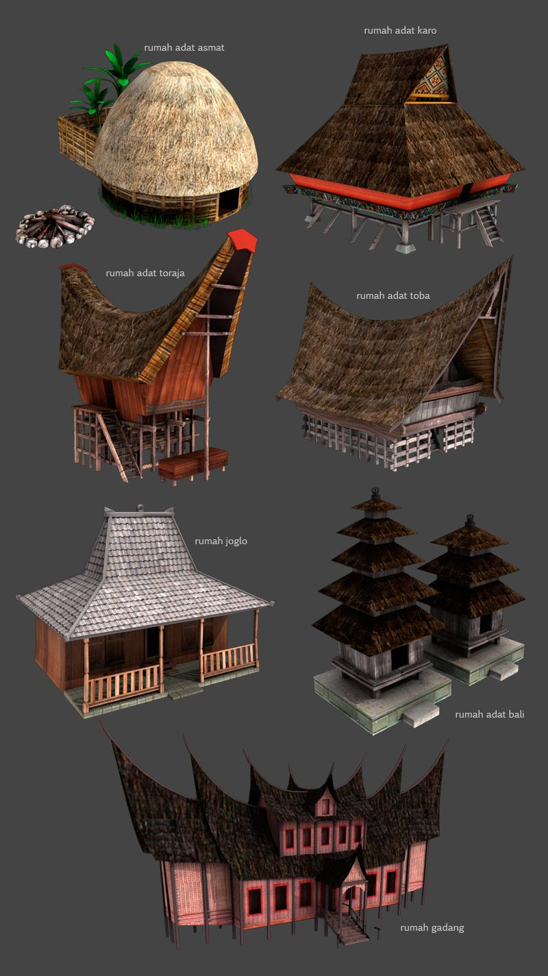 Rumah Adat Or Traditional Houses Of Indonesia By Kauwan
