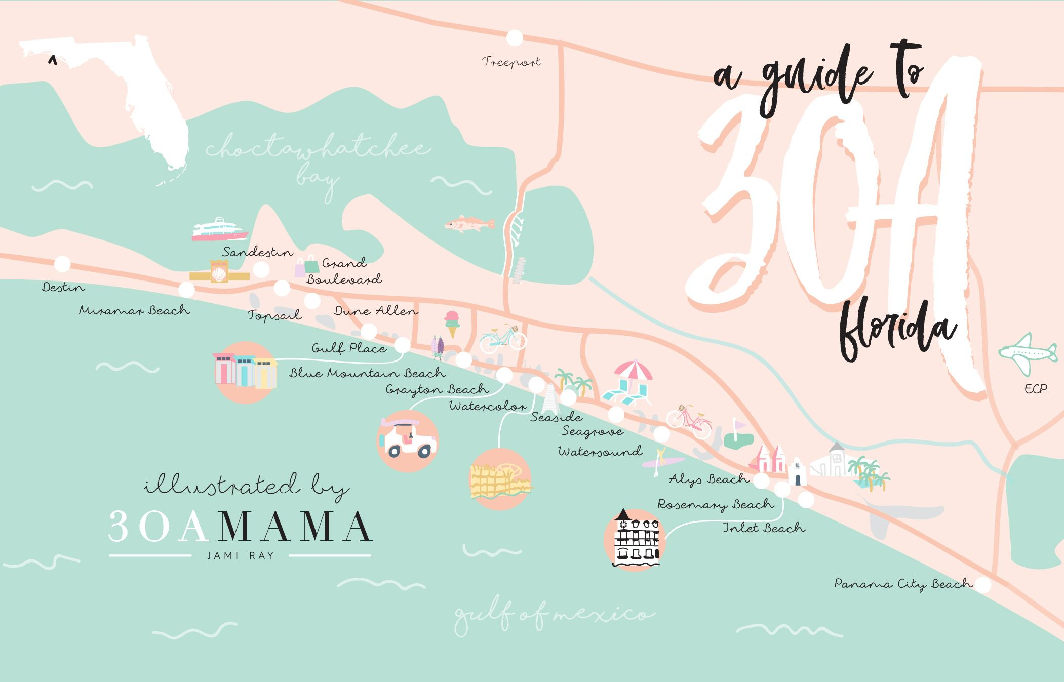 Seaside Florida Map.The Essential Guide To 30a From A Local Mom Places