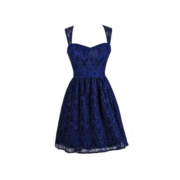 Lily Boutique ($78) ❤ liked on Polyvore featuring dresses, lace dress, a line cocktail dress, blue lace cocktail dress, babydoll dress and blue cocktail dress