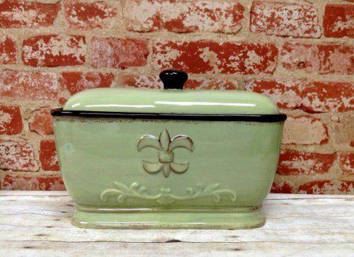 Tuscany Colorful Hand Painted Fleur De Lis Green Breadbox