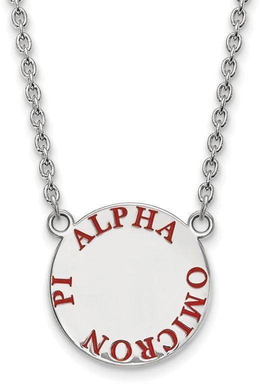 Zales Black Enamel Alpha Chi Omega Sorority Necklace in Sterling Silver toFzOmV