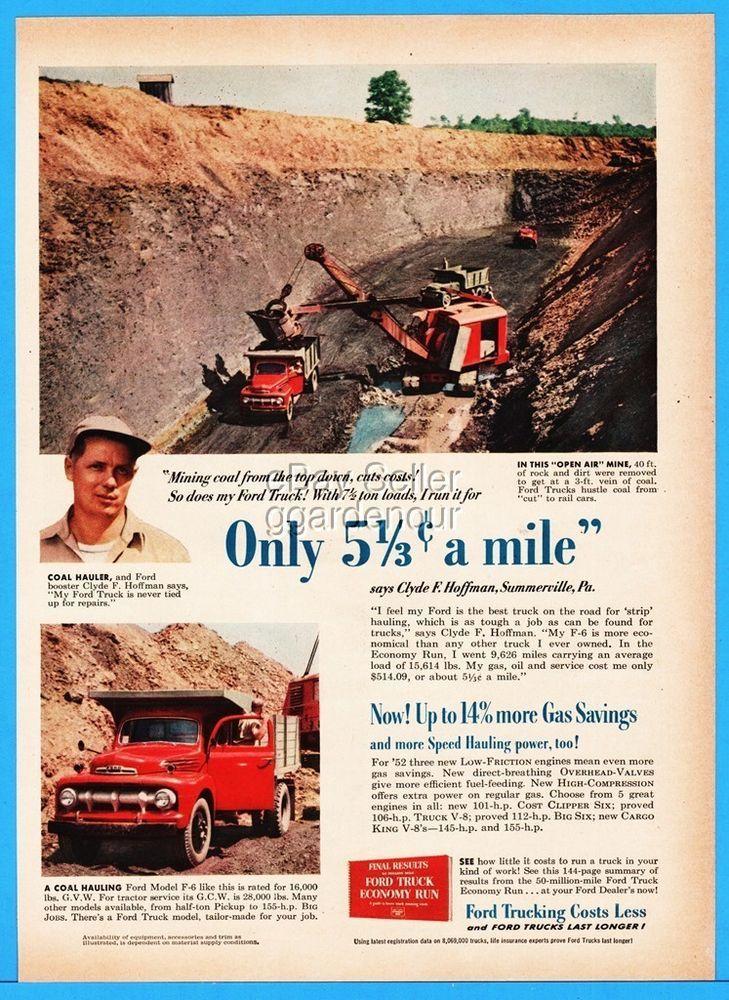 1952 Ford Trucks Coal Mine Track Hoe Shovel Clyde Hoffman