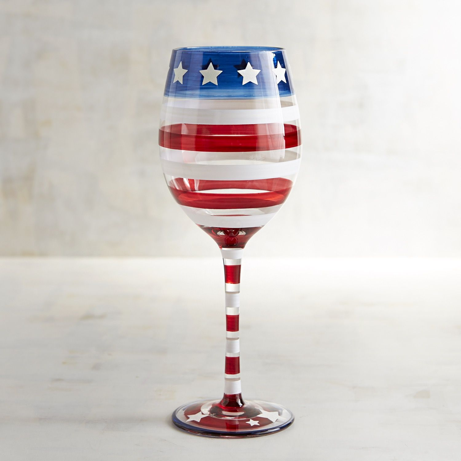 Stars And Stripes Painted Wine Glass Stars