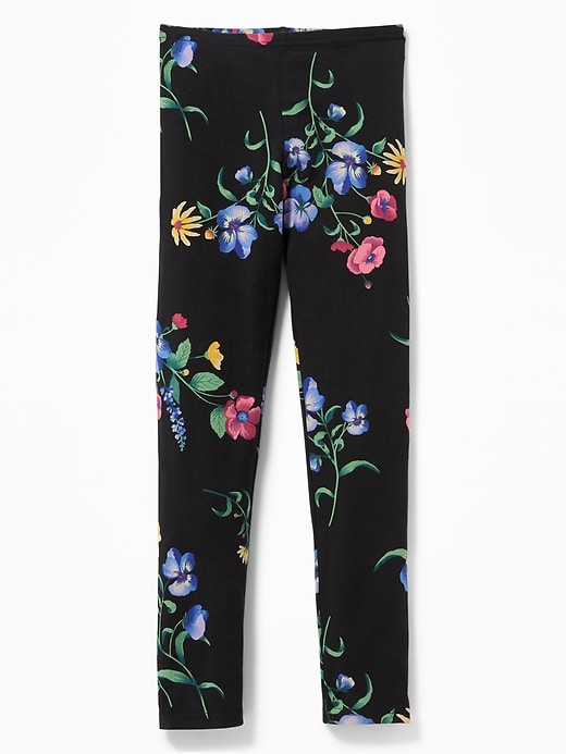 9a19c9843c806a Old Navy Girls' Graphic Full-Length Jersey Leggingss Black Floral Size S