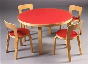 Alvar Aalto. Fire barnestole samt cirkulær bord (5)   Alvar