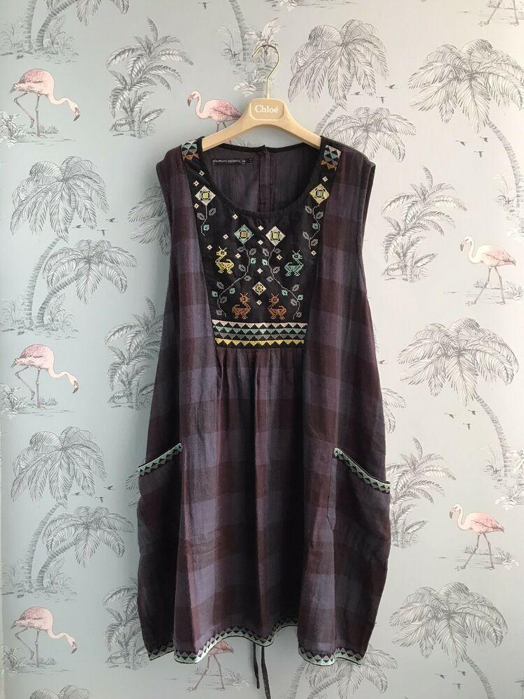 Gudrun Sjoden  embroidered Cotton Tunic Size L 18