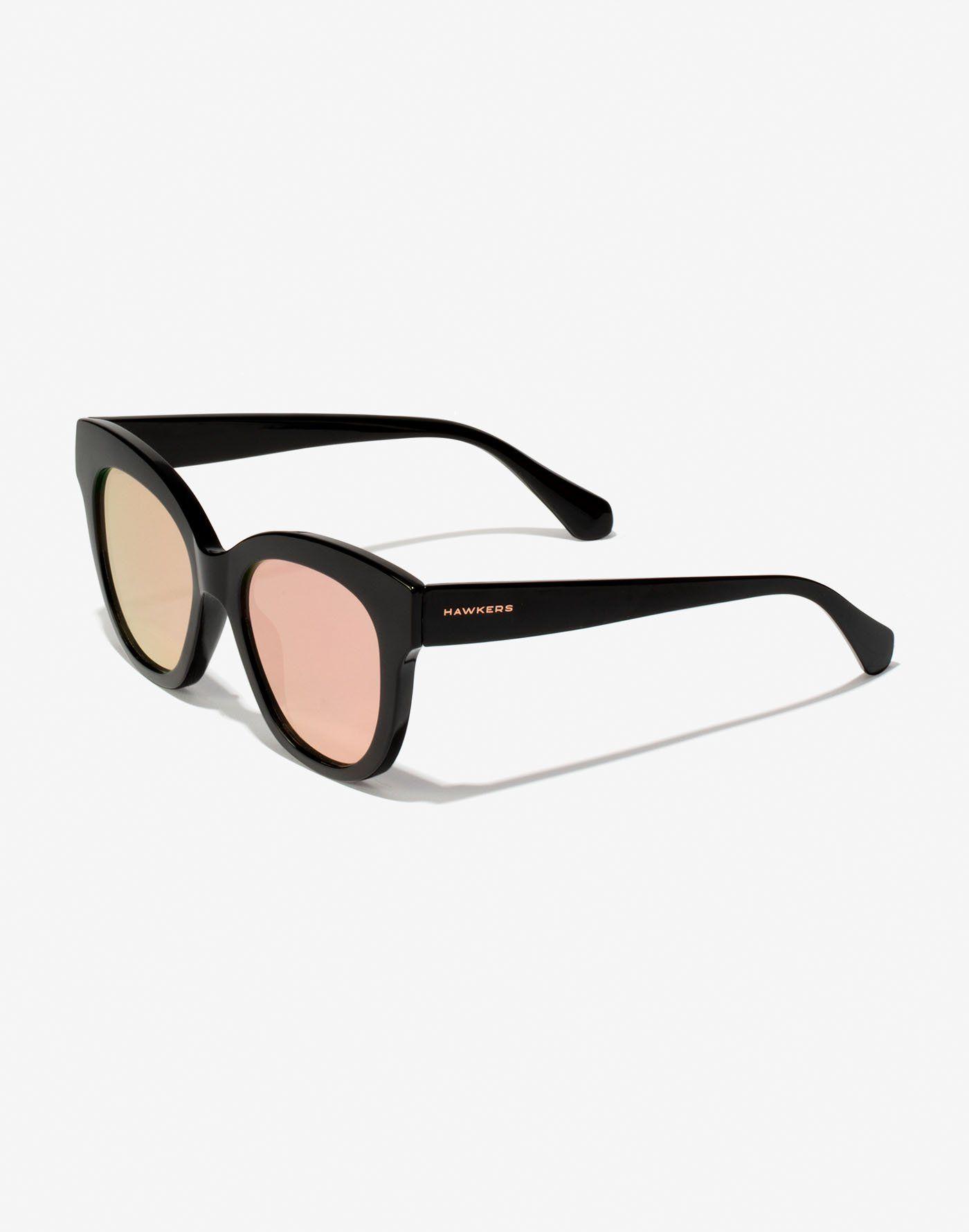 f4123ffa06 BLACK ROSE GOLD AUDREY Gafas de sol redondas estilo mariposa con montura  negra en acabado brillante