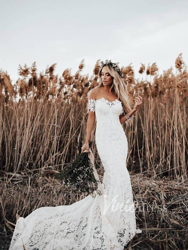 Boho Lace Wedding Dresses Lace Mermaid Wedding Dress Viniodress VW1108 4