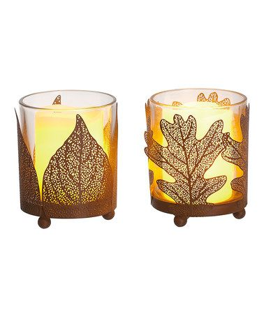 Loving this Rust Leaf Candleholder - Set of Two on #zulily! #zulilyfinds