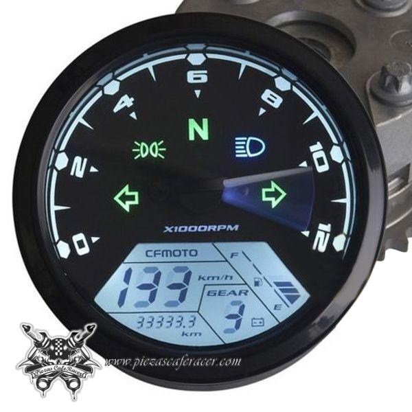 12000 rpm MPH Blue LED Backlight Digital Signal LCD Odometer Speedometer Tachometer 199 kmh for Motorcycle Custom Cruiser Caf/é Racer