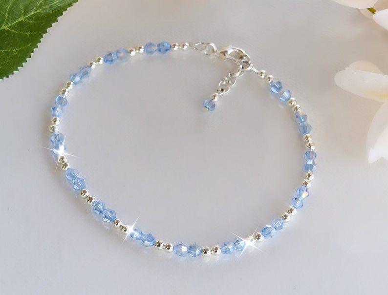 Photo of Blue Swarovski Crystal Anklet/Something Blue/Wedding/Bridal/Casual
