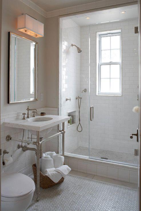 Marble Herringbone Floor Tiles, Transitional, Bathroom, B Moore Design Lighting