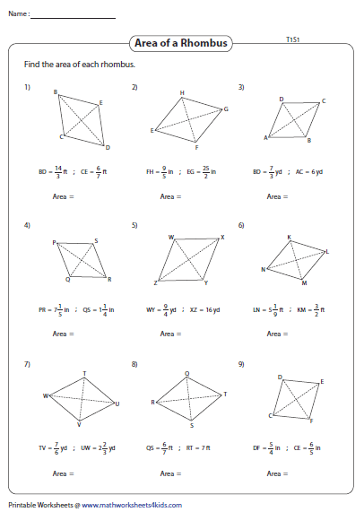 Area Of A Rhombus Fractions Rhombus Finding Area Worksheets