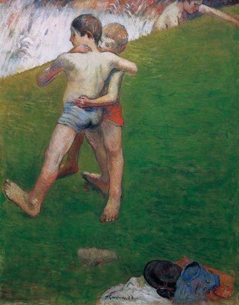 Titre de l'image : Paul Gauguin - Les Enfants Luttant