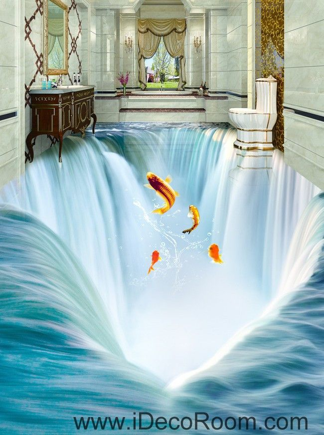 Waterfall Fish Jumping 00034 Floor Decals 3d Wallpaper Wall Mural Stickers Print Art Bathroom Decor Living 3d Wallpaper For Walls Floor Wallpaper 3d Floor Art