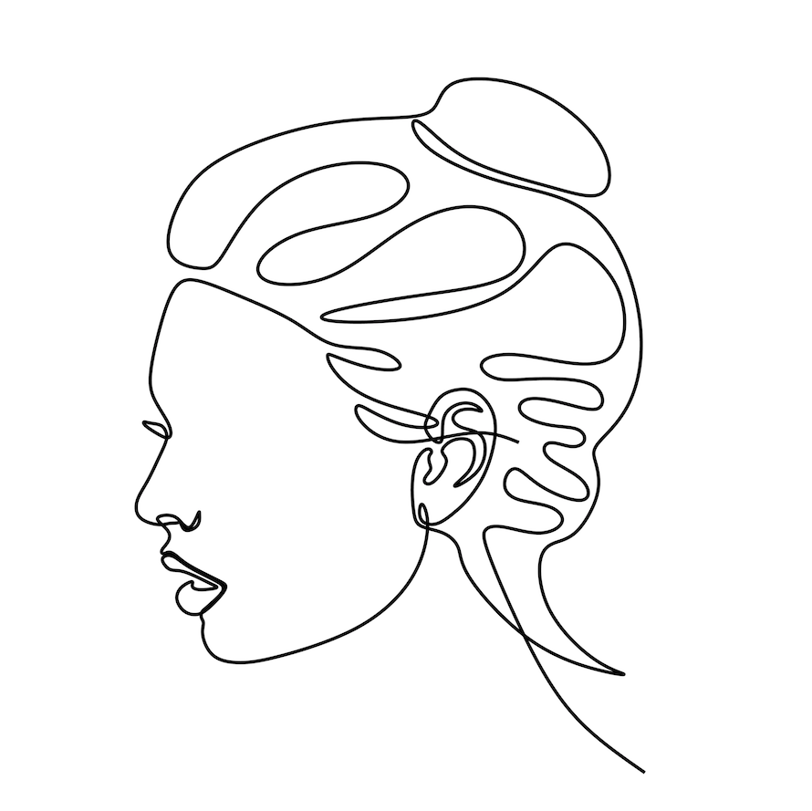 Top Knot Print Abstract Girl Face Abstract Girl Line Drawing