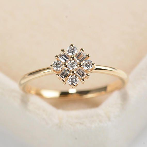 Rose Gold Engagement Ring Diamond Cluster ring Flower Wedding Mini