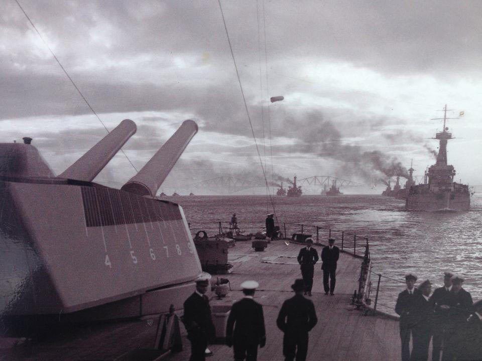 Elements Of The Royal Navy S Grand Fleet Depart The Firth Of Forth 1914 Royal Navy Royal Navy Ships Warship