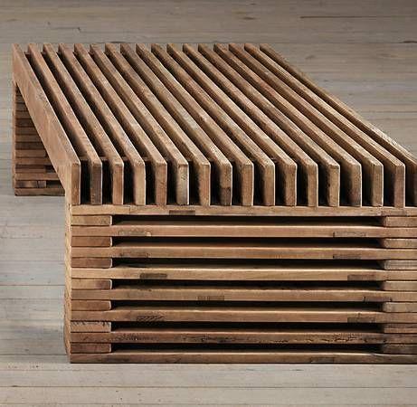 RESTORATION HARDWARE 51 Coffee Table Reclaimed Wood Timber Slat | la ...