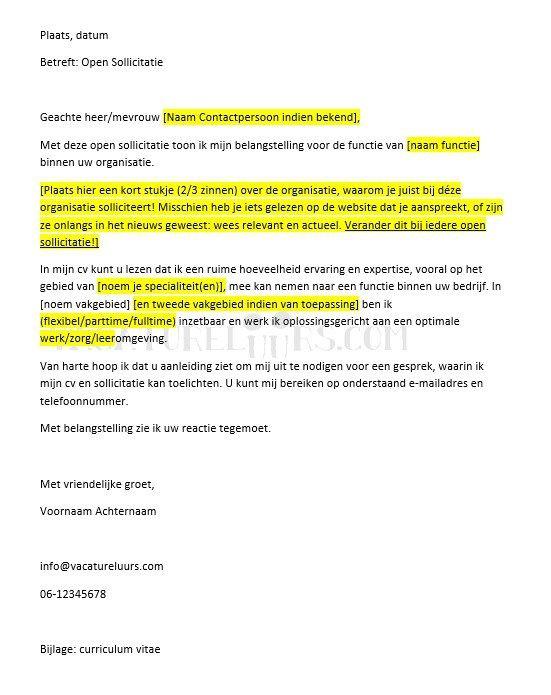 algemene sollicitatiebrief voorbeeld Open sollicitatiebrief algemeen | Trad. Curriculum vitae  algemene sollicitatiebrief voorbeeld
