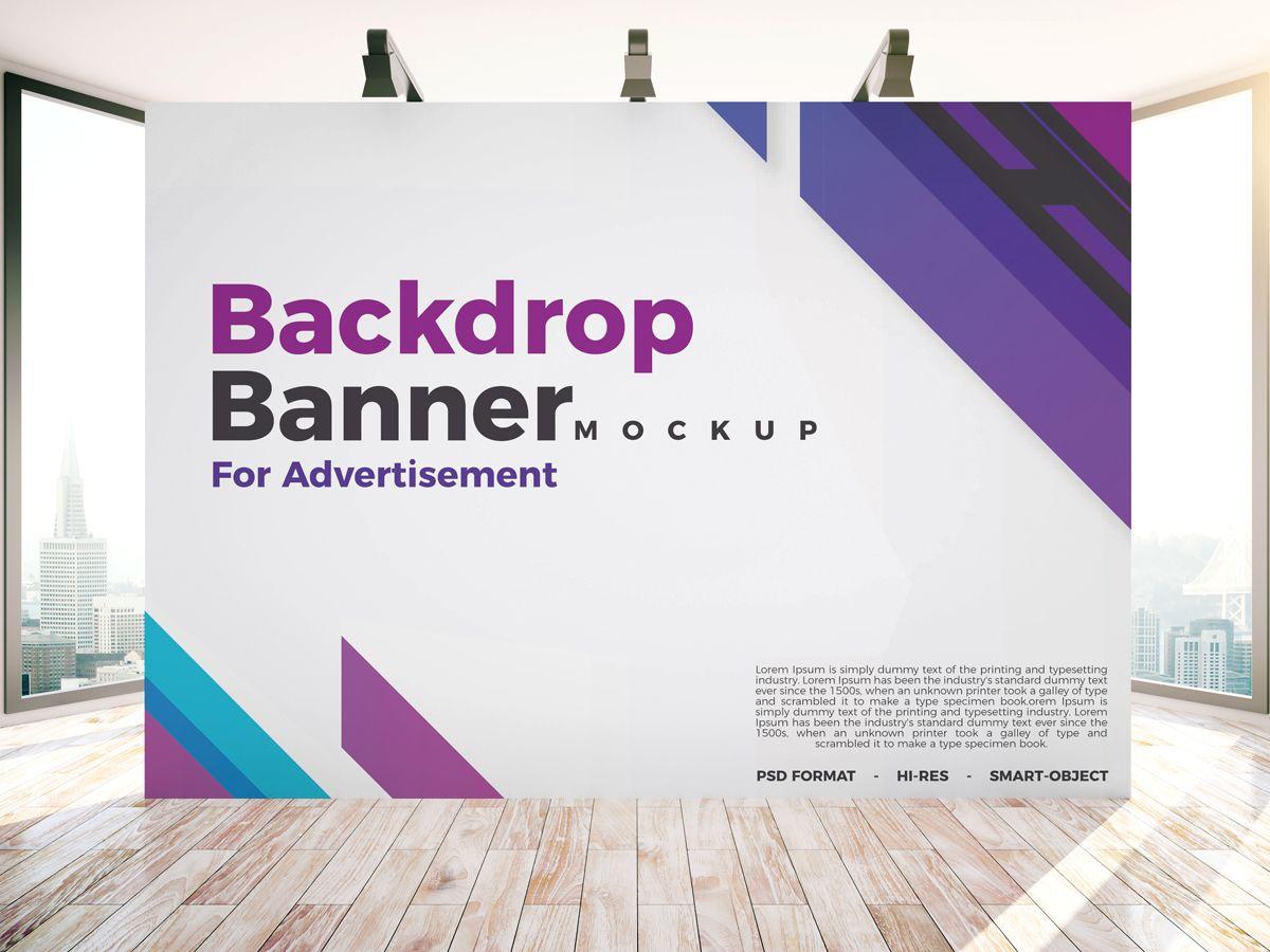 Free Backdrop Banner Mockup Psd For Indoor Advertisement Tradeshow Banner Design Banner Backdrop Backdrop Design
