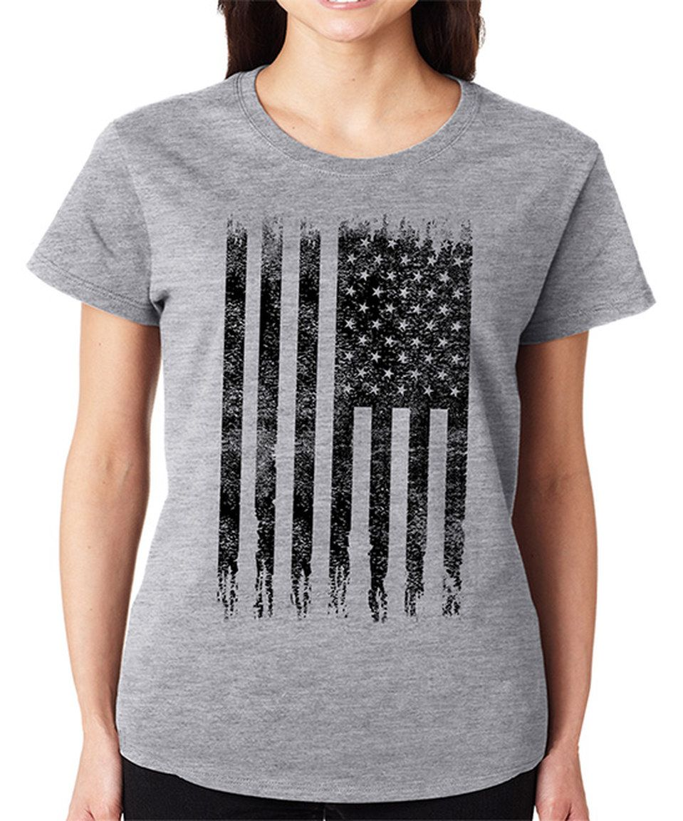 Love this SignatureTshirts Gray American Flag Crewneck Tee - Plus by SignatureTshirts on #zulily! #zulilyfinds