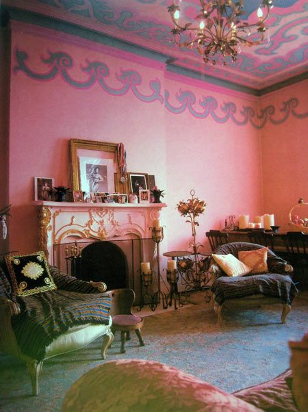 Pink living room in the NY home of Susanne Bartsch, fashion designer ...
