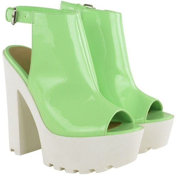 f496c50ae97 Pastel Green Patent Chunky Cleated Sole Backless High Heels Dahlia ( 44) ❤  liked on Polyvore featuring shoes