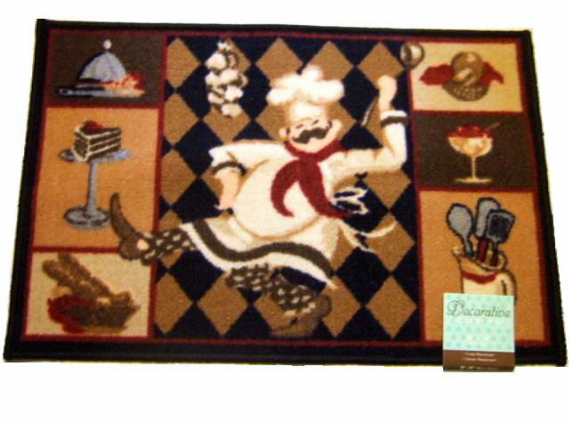 add humor to your fat chef themed kitchen with this kitchen rug
