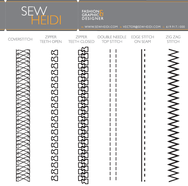 Fashion Design Zippers Stitching Illustrator Brushes Free Vector Graphics Download Free Vector C Zipper Drawing Fashion Sketch Template Technical Drawing
